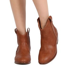 Cognac Western Cowboy Cowgirl Pull On Boots